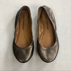 Lucky Brand Emmie Gold Leather Flats
